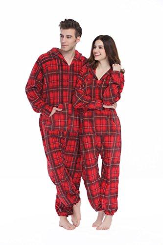 XMASCOMING Women's & Men's Hooded Fleece Onesie Pajamas Red Grey Plaid Size US XL