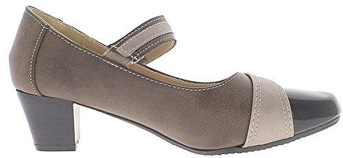 ChaussMoi Zapatos de Mujer Topo con Pequeño Tacón DE 4,5 cm y ALA Ancha