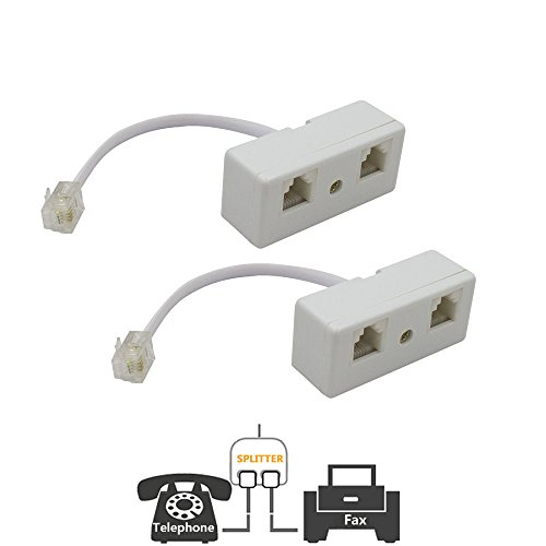(Two Way Telephone Splitters,Uvital Male to 2 Female Converter Cable RJ11 6P4C Telephone Wall Adaptor and Separator for Landline(White,2 Pack))