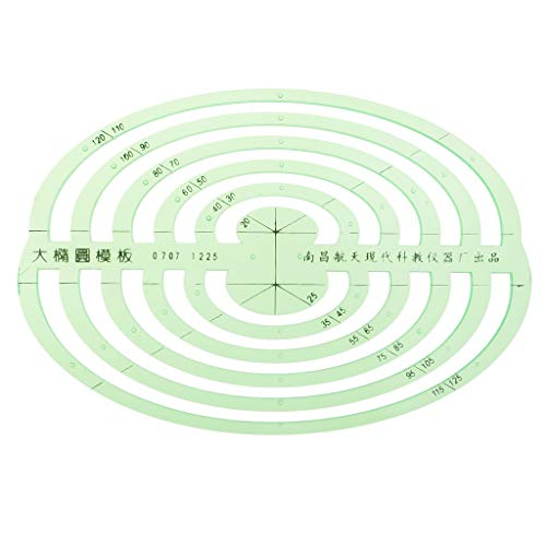 SM SunniMix 1 Pc Plastic Green Measuring Templates Geometric Rulers for Office and School, Building formwork, Drawings templates - Large Oval by SM SunniMix (Image #4)