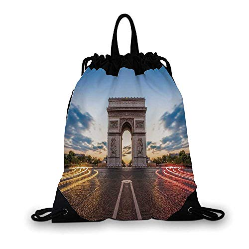 (European Nice Drawstring Bag,Paris Famous Champs Elysees Avenue Historical Monument French Culture Panorama For hiking,7.4