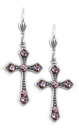 Clara Beau Elegant Swarovski crystal Victorian Cross dangle earrings EX25 SilverTone - Antique Pink