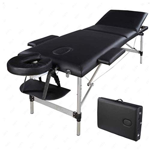 """Massage Tables Portable Massage Bed 3 Folding 84"""" Adjustable Aluminum Facial SPA Bed Table with Carry Case (black)"""
