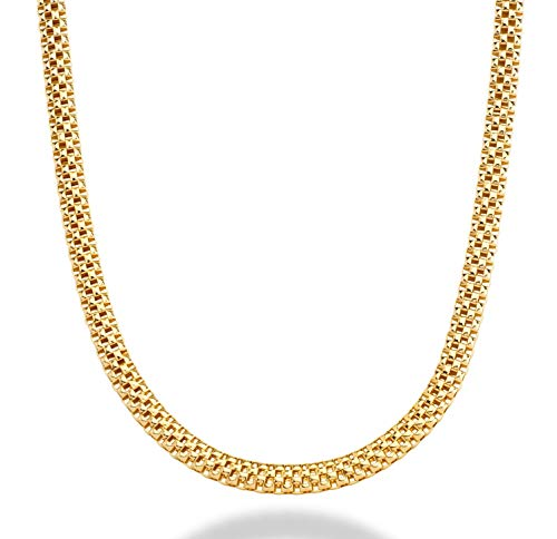 - MiaBella 18K Gold Over Sterling Silver Italian 4mm Mesh Popcorn Link Chain Necklace for Women 18
