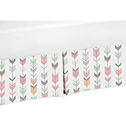 Coral, Mint and Gray Crib Bed Skirt Dust Ruffle for Girls Mod Arrow Collection Baby Bedding Sets