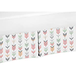 Sweet Jojo Designs Coral, Mint and Gray Crib Bed Skirt Dust Ruffle for Girls Mod Arrow Collection Baby Bedding Sets