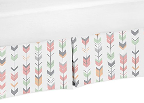 Coral-Mint-and-Gray-Crib-Bed-Skirt-Dust-Ruffle-for-Girls-Mod-Arrow-Collection-Baby-Bedding-Sets
