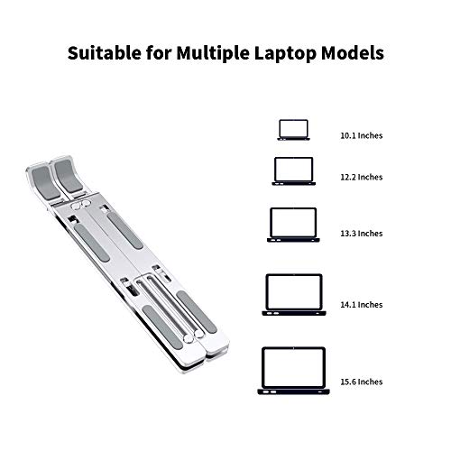 """GGYao Laptop Stand Foldable Laptop Holder, Aluminum Height & Angle Adjustable Computer Stand, Portable Computer Riser Compatible with 10-15.6"""" Laptops - Silver"""