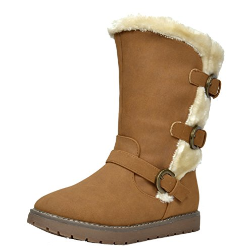 Dream Pairs KOREL Girls Winter Buckles Zipper Closure Fully Fur Lining Kids Snow Boots Camel Size 1 (Riding A Camel)