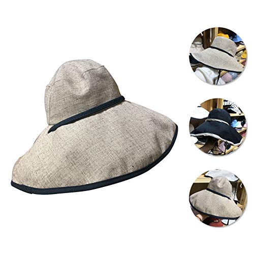 hibuy Sun Visor Cap Beach Hat Sunshade Hat Foldable Sunhat Wide Brim Summer Folding Anti-UV Golf Tennis Cotton and Linen Hemp