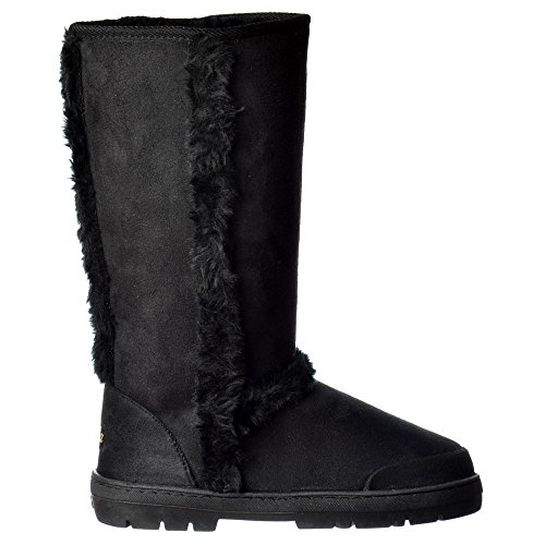 Ella Womens Ladies Synthetic Fur Trimmed Fur Lined Flat Winter Snug Boot - Chestnut Brown, Black, Dark Brown Negro