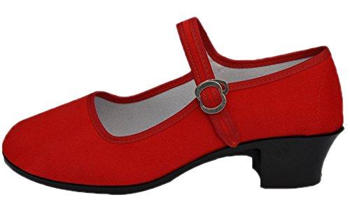 Avacostume Womens Strap Fibbia Scarpa Casual Casual Comfort Rosso Piatto