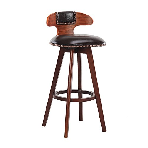 F SYF Barstools Retro Style Bar Stool Stool High Stool Dining Chair Wooden Chair Can Turn Chair 80X42 cm A+ (color   D)