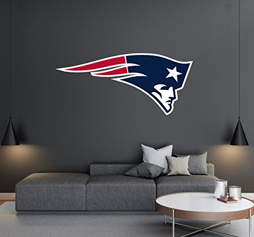 New England Patriots - Football Team Logo - Wall Decal Removable & Reusable For Home Bedroom (Wide 20