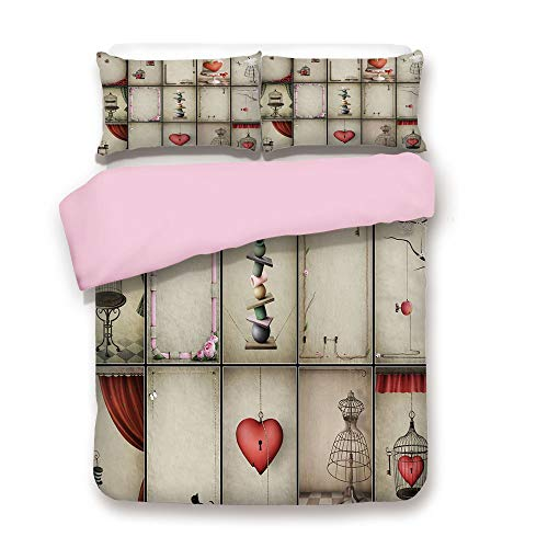 Pink Duvet Cover Set,Twin Size,Valentines Day Inspired Hearts in Captivity Retro Elements Dresses and Cat Decorative,Decorative 3 Piece Bedding Set with 2 Pillow Sham,Best Gift For Girls Women,Tan Ver