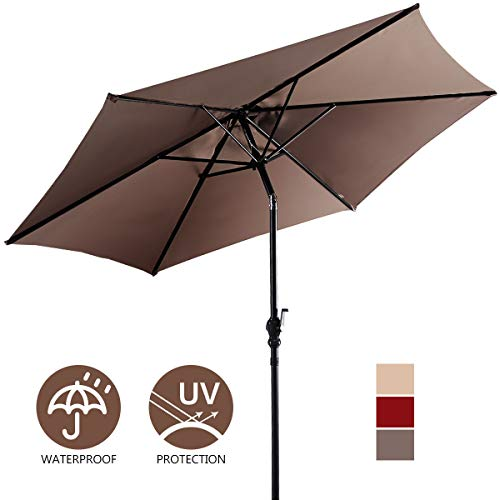 Giantex 10ft Outdoor Solar Patio Umbrella, Market Table Umbrella w/Tilt Adjustment and Crank, 180G Polyester, Garden Canopy for Deck Backyard Pool Indoor Outdoor