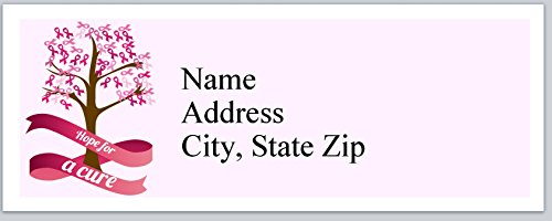 120 Personalized Address labels Breast Cancer Think Pink Roses (P 339) (Personalized Breast)