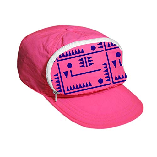 Cap-sac Fanny Pack hat for Your Head - Nylon Cap with Zipper Pocket and Adjustable Closure - Mens Hats/Womens Hats (Pink/Purrple Design/White Zipper)