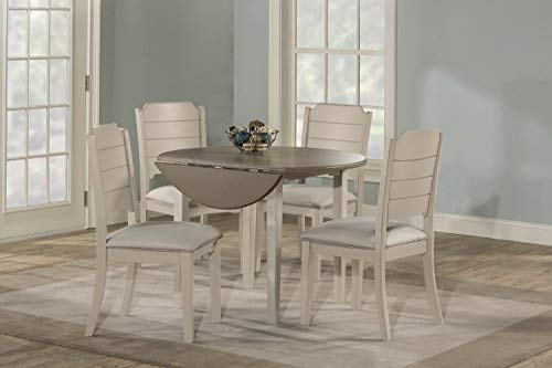 Hillsdale Furniture Round Drop Leaf Table 5 Piece Dining Set, Sea White (Sets Round Dining)