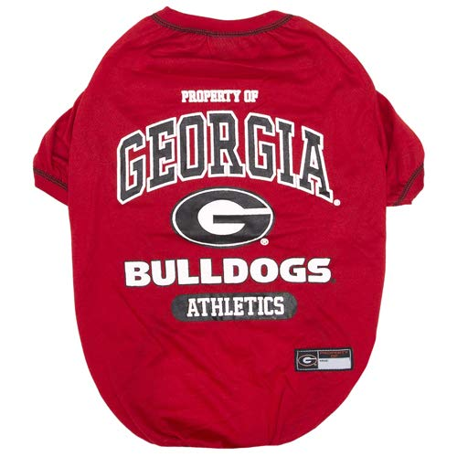 NCAA T-SHIRT - DOG TEE SHIRT - Football & Basketball DOGS & CATS SHIRT - Durable SPORTS PET TEE for DOGS & CATS - 5 Sizes available in 50+ SCHOOL TEAMS - COLLEGE PET OUTFIT - COLLEGIATE DOG SHIRT ()