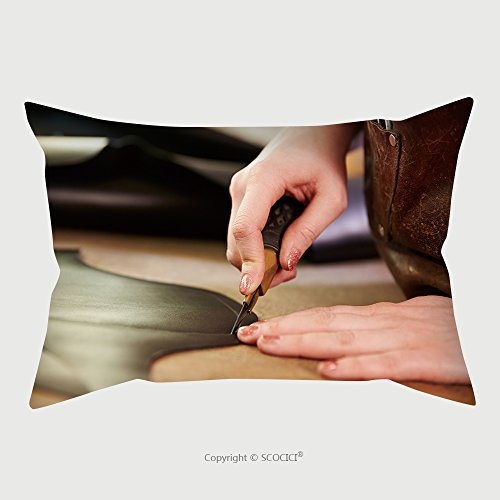 Custom Microfiber Pillowcase Protector Shoemaker Cutting Leather In A Workshop Close Up 290152256 Pillow Case Covers Decorative