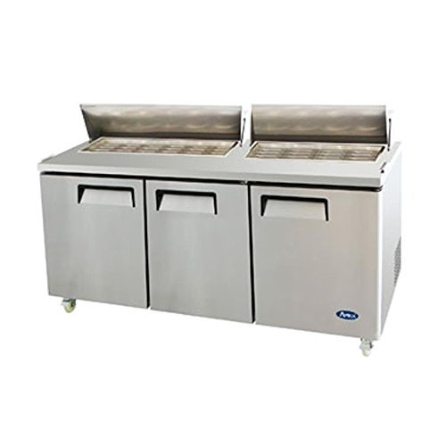 Atosa USA MSF8308 Stainless Steel Mega Top Sandwich/Salad Prep Table 72-Inch Three Door Refrigerator by Atosa USA