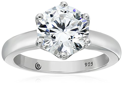 (Platinum-Plated Sterling Silver Solitaire Ring set with Round Swarovski Zirconia (3 cttw), Size 6 )