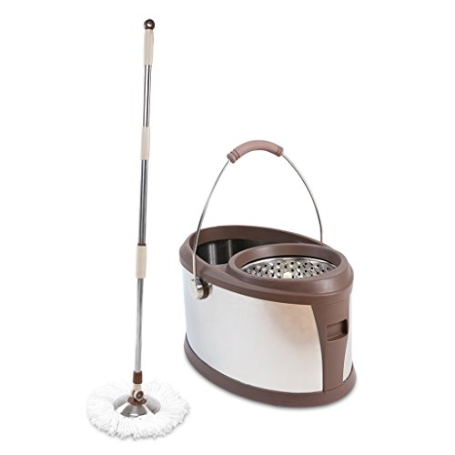 Finether Spin Scrubber,360° Spin Mop with Stainless Bucket, Floor Cleaning System Included Press Easily Handle with 3 Microfiber Mop Heads