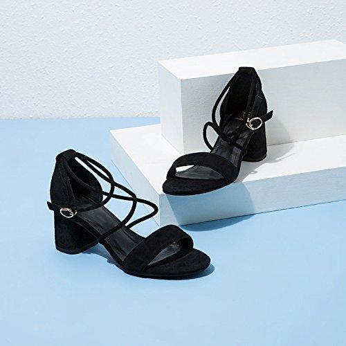 da tacco con Sandali alla DHG basso Nero donna Sandali estivi tacco casual a 39 Pantofole moda Sandali alti Tacchi basso piatti tPPwq7fS