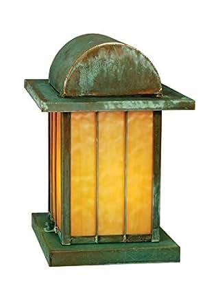 Meyda Tiffany Custom Lighting 47039 Copper Bars 2-Light Pier Mount Lantern, Verdi Finish with Beige Art Glass
