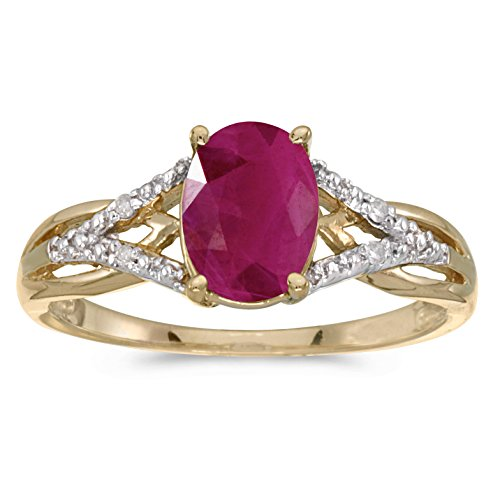 Jewels By Lux 10k Yellow Gold Genuine Red Birthstone Solitaire Oval Ruby And Diamond Wedding Engagement Ring - Size 6.5 (1.05 Cttw.)