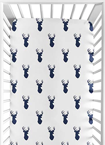 Sweet Jojo Designs Fitted Crib Sheet for Navy and White Woodland Deer Baby/Toddler Bedding Set Collection - Deer Print