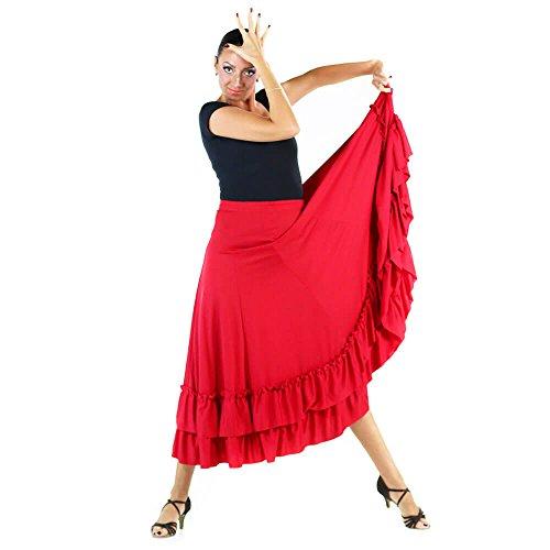 Danzcue Adult Two Ruffles Flamenco Dance Skirt, Red, Medium - Flamenco Dance Skirt