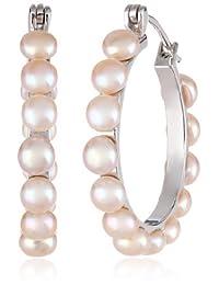 Bella Pearl Chinese Freshwater Cultured Pearl Hoop Earrings
