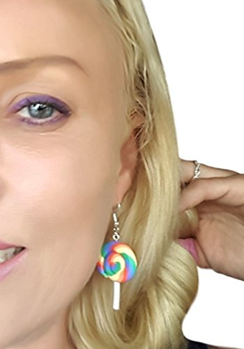 Colorful Rainbow Lollipop Candy Dangle Earrings by Pashal (Rainbow)