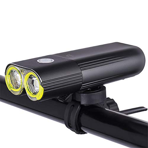 YXMxxm Super Bright Bicycle Headlight,2500mAh Safety Commuter Flash Light,USB Rechargeable Bike Headlight 1600 LM(Black),1600Lumens ()