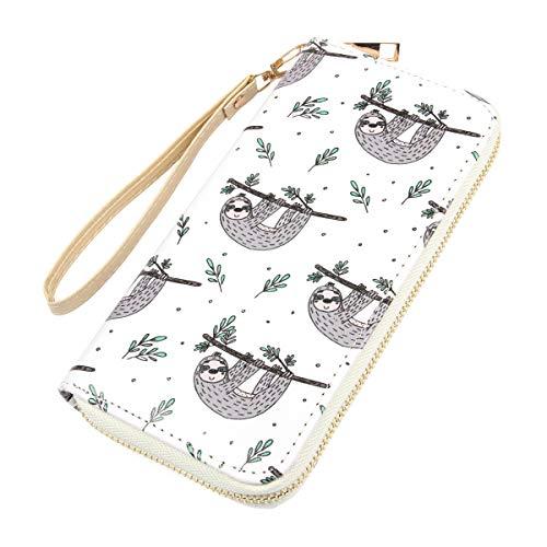 Jewelry Wallet - Cute Animal Zip Around Long Wallet - Fun Print Zipper Clutch Purse Card & Phone Slots Rainbow Unicorn, Llama, Alpaca, Sloth (Sloth - Branch)
