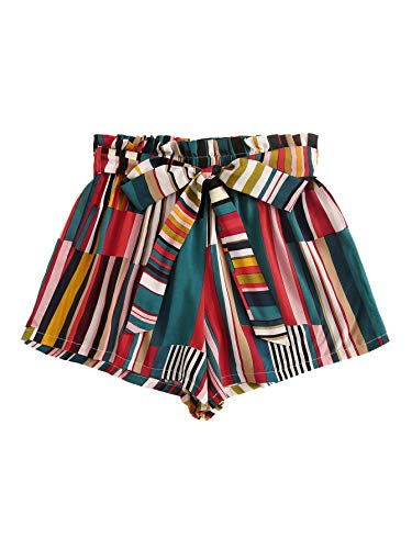 (Milumia Women Summer Elastic Belted Waist Striped Casual Boho Shorts Green Striped M)