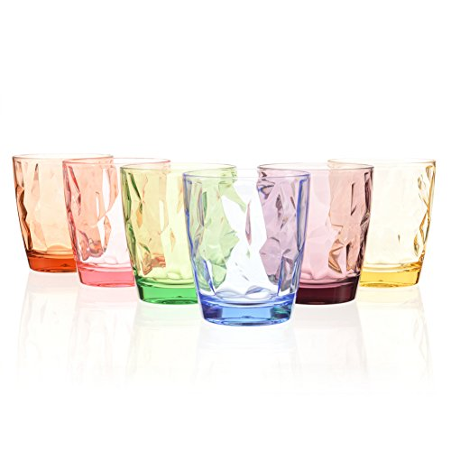 Acrylic Drinking Glasses Set Colored Plastic Tumblers Cups Glassware for Kids Unbreakable Restaurant Beverage Juice Water Drinkware for Outdoor Camping Picnic Beach (6, 6 ()