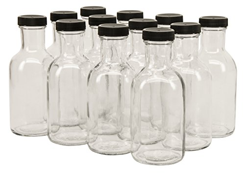 12 Label Bottle Oz (North Mountain Supply 12 Ounce Glass Stout Sauce Bottle - With 38mm Black Plastic Lids - Case of 12)