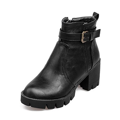 AgooLar Women's Low-Top Zipper Soft Material Kitten-Heels Round Closed Toe Boots Black