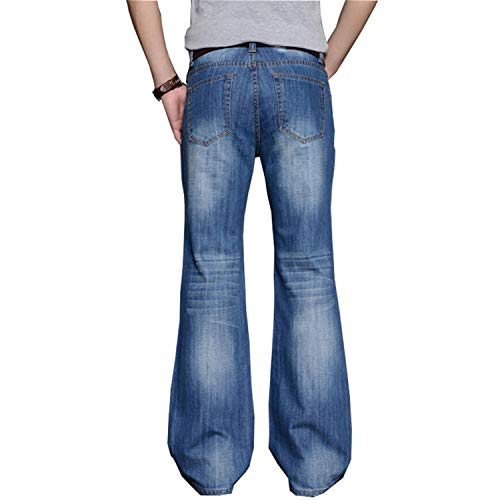 Mens Flared Loose Fit High Waist Male Designer Classic Denim Jeans Pants Bell Bottom Jeans -