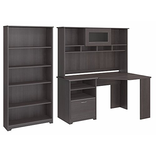 Cabot Corner Desk with Hutch and 5 Shelf Bookcase (Cabot Corner Desk Computer)