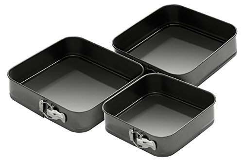 0.4mm Set Of 3 Spring Form Non-stick Square Cake Tins