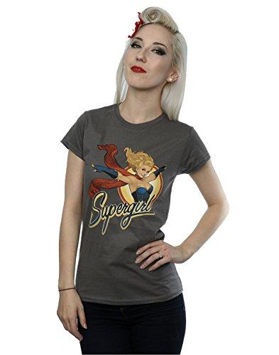 DC Comics Damen Bombshells Supergirl Badge T-Shirt Large Holzkohle