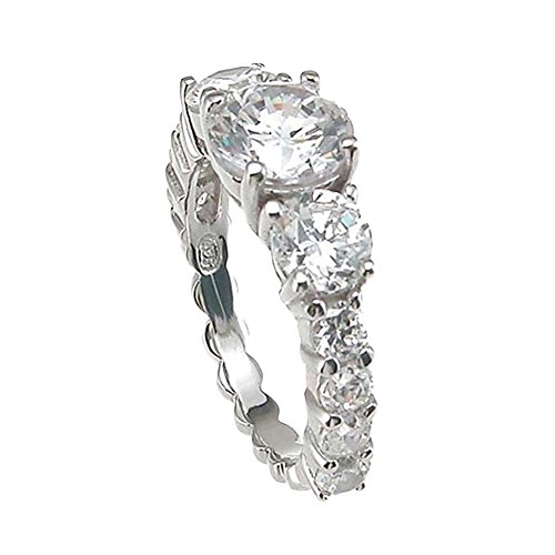 Plutus Brands 925 Sterling Silver Rhodium Finish CZ Prong Wedding Ring 2 Carat weight- Size 7 from Plutus Brands