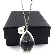 Popular High Quality Dandelion Christmas Wish Pendant Necklace with Swarovski Crystal Pearl Charm on 18