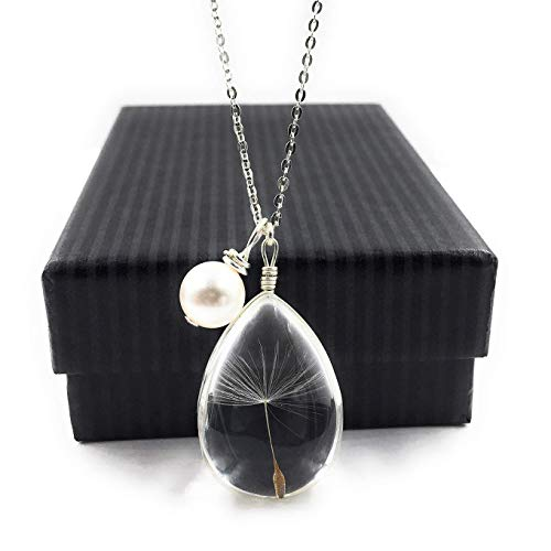 (Popular High Quality Dandelion Wish Pendant Necklace with Swarovski Crystal Pearl Charm on 18