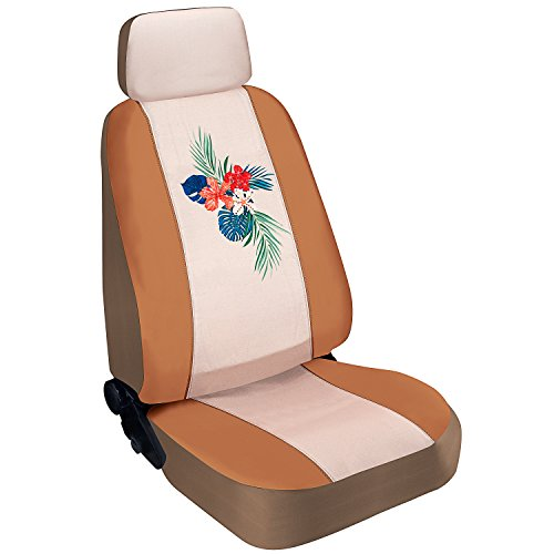 - Pilot Automotive SWR-0127 Seat Cover (Special Edition Tropical Swarovski Crystal Embellished - Tan Faux Leather/Canvas)