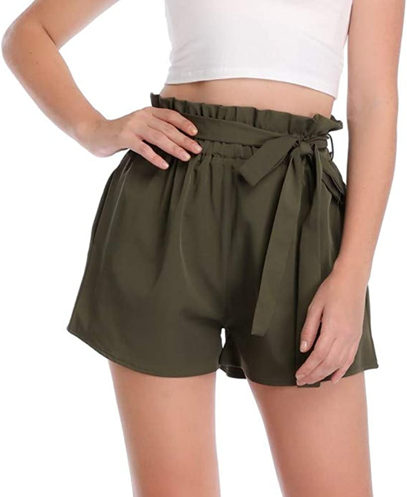 Dilgul Womens Casual Elastic High Waisted Striped Summer Shorts with Pockets